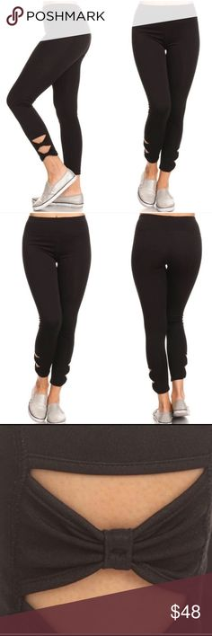 Black workout leggings..🦋 Black work out leggings... 92% polyester 8% spandex... super comfy... very cute a must have for your closet🦋 Pants Leggings