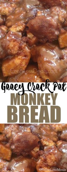 This Gooey CrockPot Monkey Bread recipe is super easy to throw together and sooooo yummy! I love the gooey sauce that bakes in with them too! Desserts Over 20 Christmas & New Years Morning Crockpot Breakfast Recipes Slow Cooker Desserts, Crockpot Deserts, Breakfast Crockpot Recipes, Brunch Recipes, Slow Cooker Recipes, Gourmet Recipes, Cooking Recipes, Bread Recipes, Crockpot Ideas