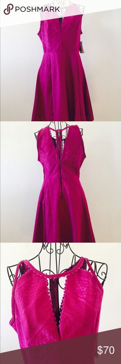 Free People Dress Fuchsia dress by Free People. Peek a boo at bust with scalloping. Back has full zipper with scallop trimmed cut outs. Hemline also has scallops. NWT Size 10. Free People Dresses Mini