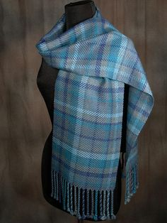 plaid scarf / blue scarf / handwoven scarf / merino wool scarf / winter scarf / man's scarf / woman' Wool Scarf, Plaid Scarf, Signature Design, Yarn Colors, Womens Scarves, Merino Wool, Hand Weaving, Fashion Outfits, Woman