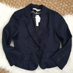 NWT. Classic navy blazer Adorable front pockets & single front button. Jackets & Coats Blazers