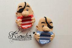 Aplique de Crochê Bebê Piratas - /  Apply Crochet Baby Pirates -