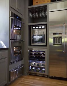 Modern #Kitchen #Design with #Luxury Appliances keepin it classy --- seriously, check out that winerator!