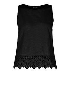 Black Crochet Trim Vest  | New Look