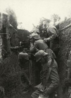 German troops in early trench warfare during 1914, WW1.