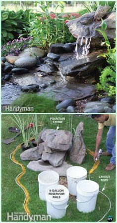 DIY Low-Maintenance Water Fountain Instruction - DIY Fountain Landscaping Ideas & Projects DIY Garden Fountain Landscaping Ideas & Projects with Instructions: Outdoor Fountain DIY projects, built in fountain and water features tutorials Low Maintenance Landscaping, Low Maintenance Garden, Front Yard Landscaping, Backyard Landscaping, Landscaping Ideas, Landscape Maintenance, Landscaping Software, Diy Water Fountain, Diy Garden Fountains