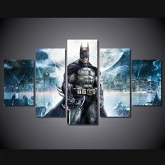 Framed Printed Batman Movie Wall Art Canvas Home Decoration Painting Poster 5 Pc Poster Pictures, Wall Art Pictures, Canvas Pictures, Gotham Movie, Batman Painting, Batman Artwork, Abstract Tree Painting, Painting Canvas, Canvas Wall Art
