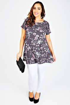Grey & Pink Floral Print Longline Swing Top With Godet Sides