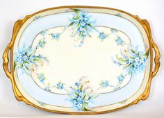 Limoges Hand Painted Forget Me Nots Pickard Pattern Tray | eBay