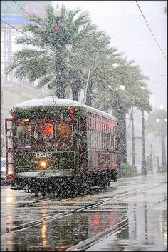 Snow in New Orleans! Loved the trolleys! No snow for us.but loved New Orleans! Winter Szenen, Winter Magic, Winter Time, Winter Light, Snow In New Orleans, New Orleans Christmas, Trains, Snow Scenes, Winter Beauty