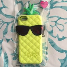 PINK iPhone 5/5S Case Get the summertime feel with this pineapple silicone phone case from PINK! Hardly used, especially now that I don't have an iPhone 5S anymore. PINK Victoria's Secret Accessories Phone Cases
