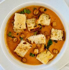 I will confidently say I will not ever have another can or cartoon of tomato soup after making this recipe. Maybe not even at a restaurant because the creaminess and freshness of this will be hard to beat. Hopefully you agree and you will find it will bring back childhood memories or times whenever you enjoyed the nostalgic pairing of a grilled cheese and tomato soup! Vegan Soup, Healthy Soup, Healthy Recipes, White Bean Soup, White Beans, Tomato Soup Recipes, Pork Recipes, White Bean Recipes, Crunchy Chickpeas