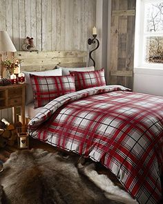 RED CHECK DUVET COVER SET WITH PILLOW CASES (King Size) H… King Size Bed Sheets, King Size Duvet, Tartan Curtains, Double King Size Bed, Luxury Duvet Covers, White Sheets, Duvet Bedding Sets, Cotton Duvet, Quilt Cover Sets