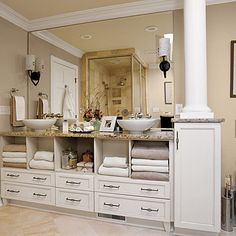 I like the storage in this vanity - still not sure how I feel about the vessel sinks though...