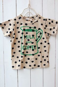 Milk & Dot shirt via Babiekins Magazine Little Girl Fashion, My Little Girl, My Baby Girl, Kids Fashion, Bebe Love, Fashion Moda, Personalized T Shirts, Kid Styles, Kids Wear