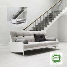 Indie futonbäddsoffa från Karup Indie futon sofa bed from Karup White Sofa Bed, White Futon, White Couches, Black Sofa, White Bedding, Black Futon, Sofa Convertible, Canapé Convertible Design, Banquette Futon