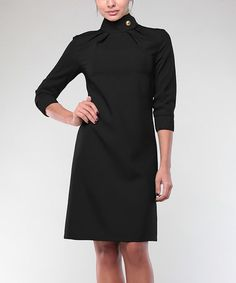 Look what I found on #zulily! Black High-Neck Sheath Dress #zulilyfinds