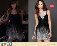 Rachel's black and silver dress on Glee.  Outfit details: http://wornontv.net/11555/