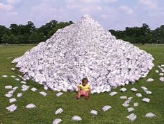 What a waste! This is what the pile of disposable nappies per child looks like.