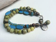 Multi-Strand Funky Bohemian Blue Apple Green Bracelet, Green Agate, Ocean Blue, Funky Jewelry, Raw Brass