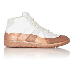 """Maison Margiela Women's Patent-Dipped """"Replica"""" SneakersSize 5. ($339) ❤ liked on Polyvore featuring shoes, sneakers, white, polish shoes, lace up shoes, white patent shoes, white lace up sneakers and lace up sneakers"""