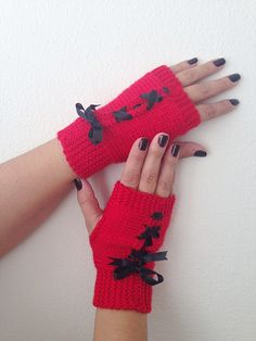 Red and black  bow  Fingerless GlovesWool MittensArm by NesrinArt, $21.00