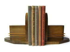 Art Deco wooden bookends set of 2 by VintageBreda on Etsy