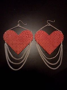 Unchain My Heart Dangle Perler Heart With Chain by enthusiart