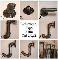 How To Make Industrial Pipe Hooks - My Sweet Savannah - Home Projects We Love Industrial House, Industrial Chic, Industrial Coat Rack, Industrial Shelving, Industrial Farmhouse, Industrial Bathroom Design, Farmhouse Office, Industrial Restaurant, Kitchen Industrial