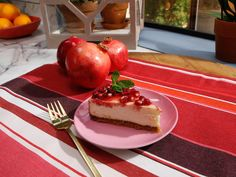 Cheesecake with Pomegranate Sauce recipe from Marcela Valladolid  Deck Your Halls with Delicious