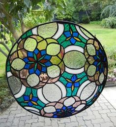 Stained Glass Flowers | Stained Glass Flower Sphere Window