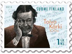 Postimerkki Toivo Kärki 100 vuotta (2.3.2015) Postage Stamps, Finland, Nostalgia, Portraits, Fictional Characters, Design, Head Shots, Stamps, Fantasy Characters