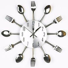 Frete grátis mudo moderno Sliver talheres utensílio relógio de parede garfo colher faca mudo relógio de quartzo
