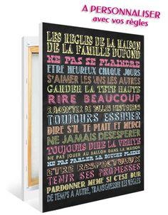 Un tableau dans l'esprit écrit sur une ardoise pour décorer une pièce de votre maison, tout en rappelant de façon graphique les règles qui s'appliquent chez vous à vos enfants ou invités (des règles humoristiques ou factuelles)!  Plusieurs coloris au choix. PRIX : à partir de 30€ Plus de détails sur : http://www.graphik-spirit.fr/tableaux/580-affiche-regles-de-la-maison-ardoise-multicouleur-personnalisee.html
