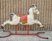 Vintage 1950s Mobo Range Rider Tin Rocking Hobby Horse Made in England Childs Toy Mid Century Atomic Era