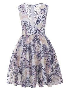V Neck Printed A Line Cocktail Dress