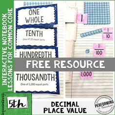 Grade Math Interactive Notebook NBT Decimal Place Value Math 5, Math Tutor, 5th Grade Math, Teaching Math, Third Grade, Teaching Ideas, Math Notebooks, Interactive Notebooks, Math Resources