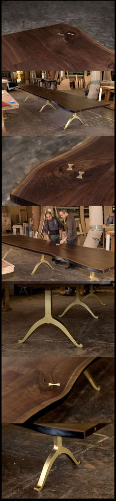 A SENTIENT Signature Black Walnut Dining Table with Brass Wishbone Legs is inspected before being shipped off to the Index Dubai show. See more at www.sentientfurniture.com