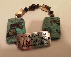 My handcrafted bracelet featuring 2 of my favorite things! Butterflies and my favorite scripture!