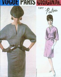 1960s STUNNING PATOU Slim Dress Pattern VOGUE PARIS Original 1377 Low Slit Neckline Day or After 5 Cocktail Dress Bust 34 Vintage Sewing Pattern