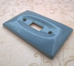 Switch Plate 1970s Blue Light Switch Cover Vintage by TheBeadSource - $14.00