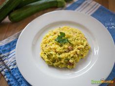 Risotto allo zafferano con pancetta e zucchine  #ricette #food #recipes