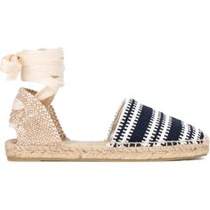 Castañer Kitty Tie espadrille ($100) ❤ liked on Polyvore featuring shoes, sandals, blue, espadrille sandals, castaner espadrilles, castañer, tie shoes and tie sandals