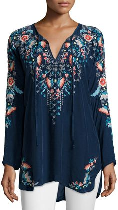 Johnny Was Julie Sunrise Embroidered Blouse, Women's