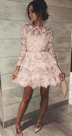 pink lace homecoming dresses,long sleeves short party dresses,cute tiered prom dress,graduation party dress