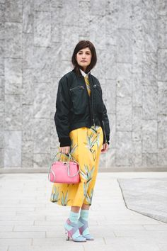 70+ Photos Of Milan's Most Over-The-Top Street Style #refinery29  http://www.refinery29.com/2016/03/104781/milan-fashion-week-fall-winter-2016-street-style-pictures#slide-57  Toughen up your pastels by pairing them with a bomber jacket....