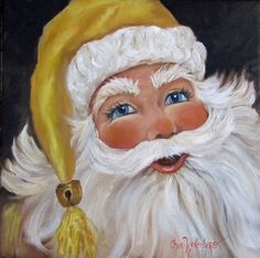 Portrait Painting of Christmas Santa With a Gold by ChatterBoxArt Christmas Canvas, Christmas Wood, Christmas Pictures, Christmas Crafts, Christmas Snowman, Xmas, Santa Paintings, Christmas Paintings, Tole Painting Patterns