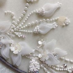 Wonderful Ribbon Embroidery Flowers by Hand Ideas. Enchanting Ribbon Embroidery Flowers by Hand Ideas. Pearl Embroidery, Hand Embroidery Dress, Tambour Embroidery, Embroidery Flowers Pattern, Couture Embroidery, Bead Embroidery Jewelry, Silk Ribbon Embroidery, Embroidery Fashion, Hand Embroidery Designs