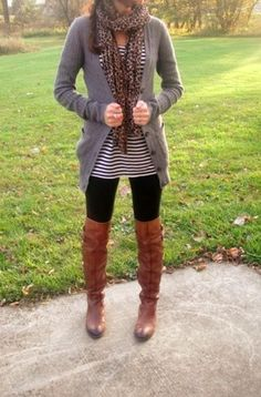 Animal Print + Stripes + Brown Boots