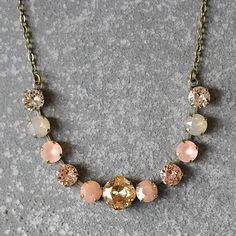 Beige Neutral Necklace Swarovski Crystal Ombre Champagne Peach Frosted Beige Opal Rhinestone Bar Necklace Mashugana auf Etsy, 29,41 €